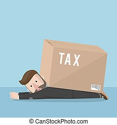 Business man bad day with tax box