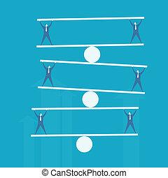 Business man balance beam