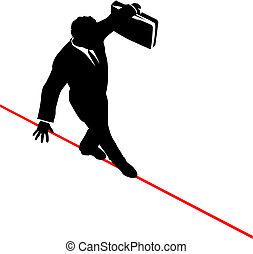 business man balances briefcase walks risky high tightrope -...