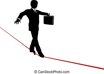 A business man balances with a briefcase, walks a high wire tightrope, above risk and danger.