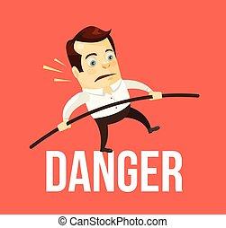 Business man balancing danger