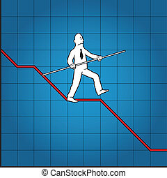 Business man balancing on declining graph
