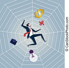 Business man be trapped on cobweb. Business concept Vector