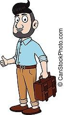 Business man beard thumb up