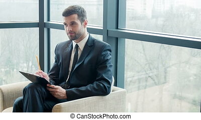 Business man before meeting room