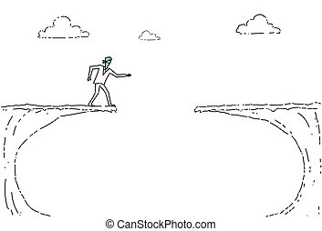 Business Man Blind Walking To Cliff Gap Crisis Risk Concept