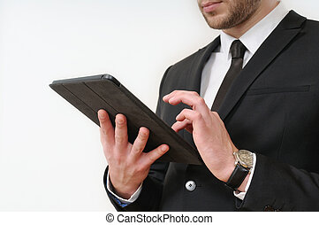 business man body side in black suit holding his tablet on white