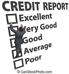 Business man build credit score rating up - Business man ...