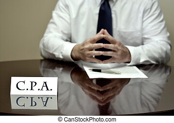 Business Man Businessman at Desk with Papers and Card CPA