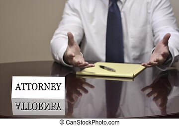 Business Man Businessman at Desk with Papers and Card Making Hand Gestures Attorney Lawyer