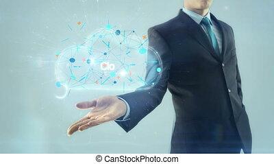 Business man businessman cloud computing network server concept hold design scheme on hand white light background