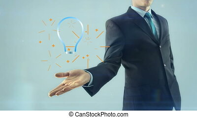 Business man businessman inspiration idea gear team work concept hold style design lamp bulb on hand white light background