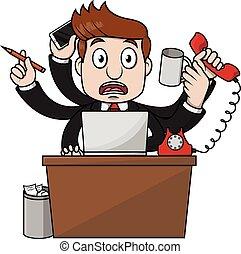 Business man busy desk