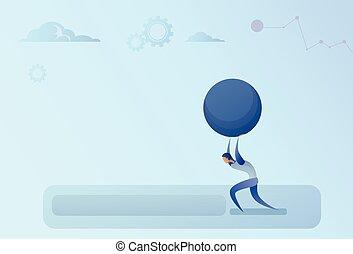 Business Man Carry Big Stone Credit Debt Finance Crisis Concept