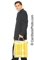 Business Man Carrying Shopping Bag
