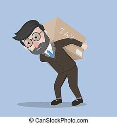 Business man carrying tax box