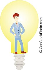 Business man cartoon character have an idea for startup and in lamp.