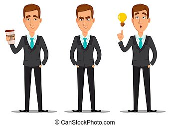 Business man cartoon character. Set