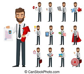 Business man cartoon character, set