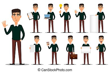 Business man cartoon character, set. Young handsome smiling businessman in smart casual clothes. Stock vector