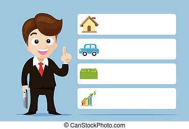 Business man cartoon smile showing the finger with banner vector illustration eps10