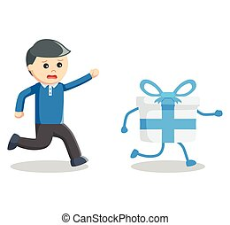 Business man catch gift