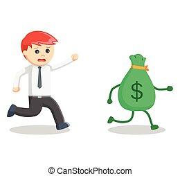 Business man catch money