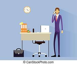 business man cell phone call at desk in office working flat