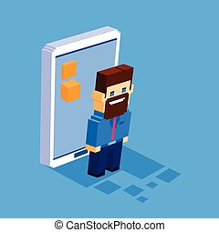 Business Man Cell Smart Phone Social Network Communication Concept 3d Isometric