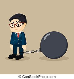 Business man chained big ball