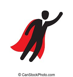 Business man character flying through sky, like a superhero