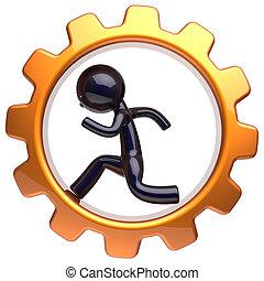 Business man character inside gearwheel running character