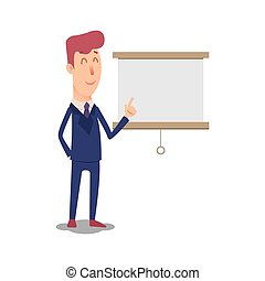Business man character points to the board. Cartoon successful businesman in suit shows the presentation. Young office manager in flat style shows a new project. Professional salesman on a white background. Big boss