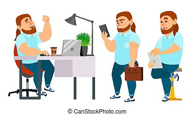 Business Man Character Vector. Working Man. Fat, Bearded. Environment Process Creative Studio. Programming, Planning. Full Length. Designer, Manager. Poses. Flat Cartoon Business Illustration