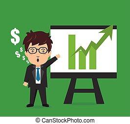 Business man characters presentation plan graph