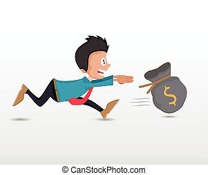 business man chasing money bag