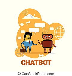 Business Man Chatting With Chatbot Icon Chatter Bot Robot Support Modern Technology Concept