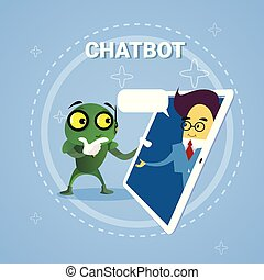 Business Man Chatting With Chatbot Through Digital Tablet Chatter Bot Robot Support Modern Technology Concept