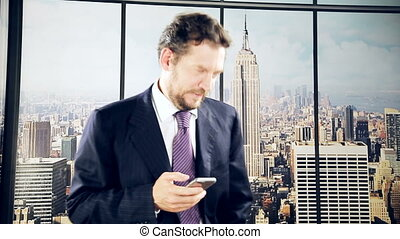 Business man chatting with phone