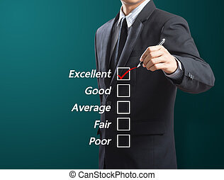 business man checking excellence