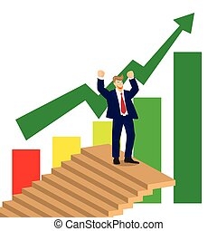 Business man cheer on top of stairs on stock market chart background., vector, illustration