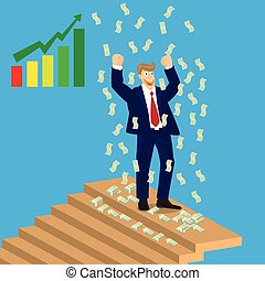 Business man cheer on top of stairs with falling money, vector, illustration