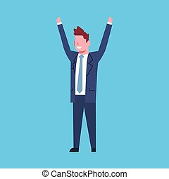 Business Man Cheerful Hold Raised Hands Office Worker Character Businessman Isolated