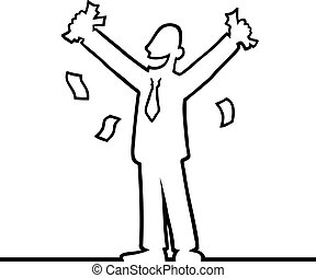 Business man cheering with money in his hands - Black line ...