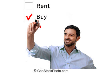 business man choosing rent or buy option at formular real...