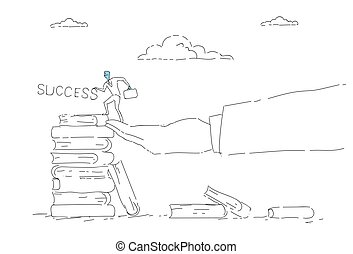 Business Man Climb Books Stack Education Career Opportunity Growth Concept Success