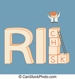 business man climb from risk to rich