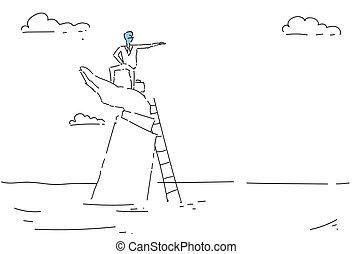Business Man Climb Ladder Career Opportunity Growth Concept Finance Success