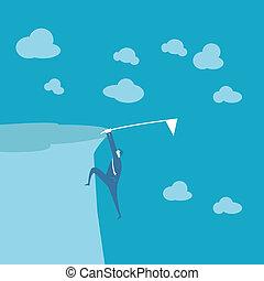 Business man climb mountain