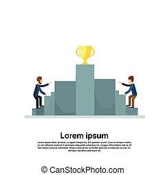 Business Man Climb Podium Golden Cup Competition Concept
